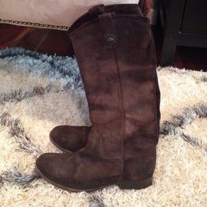 Brown Suede Frye Melissa Button Boots